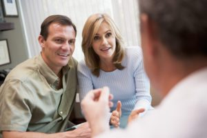Couple in consultation at IVF clinic (selective focus)